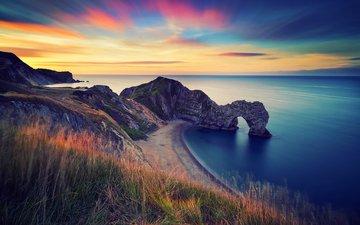 скалы, берег, море, утро, рассвет, океан, англия, арка, береговая линия, durdle door