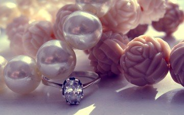 roses, ring, decoration, pearl, diamond, pearls, platinum, jewelry