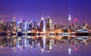 ночь, огни, панорама, небоскребы, сша, нью-йорк, манхэттен, оражение