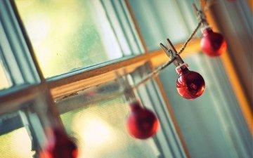 свет, солнце, новый год, шарики, игрушки, окно, веревка, праздник