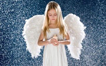 снег, крылья, девочка, ангел, свечка, ребенок, свеча, детство