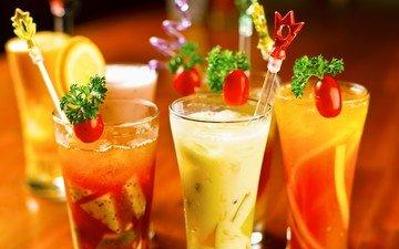 фрукты, лёд, ягоды, коктейль, напитки, коктейли, бокалы, разные, трубочки