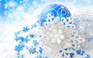 новый год, шары, снежинки, узоры, блеск, игрушки, белые, синие, серебристые