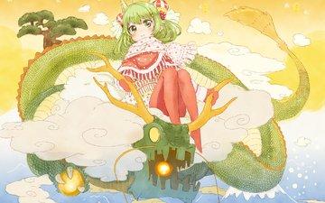 devochka, kitajskij drakon, verxom