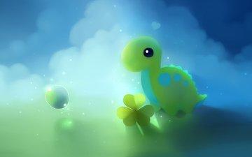 goluboj, zelyonyj, dinozavr, klever, puzyr, oblaka
