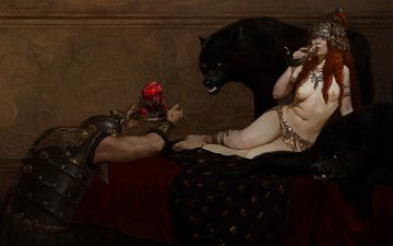 art, girl, fiction, panther, wolf, yuriy mazurkin