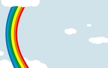 nebo, kraski, raduga, minimalizm, oblaka