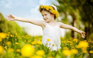 cvety, trava, devochka, priroda, nastroeniya, deti, soln