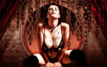 девушка, кровь, фэнтези, готика, вампир
