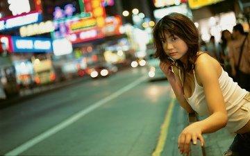 девушка, город, азиатка, китаянка, автодорога