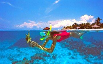 море, пляж, остров, тропики, мальдивы, дайвинг