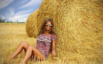природа, девушка, поле, сено, лето, деревня, очки