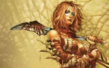 девушка, оружие, кровь, игра, golden axe: beast rider