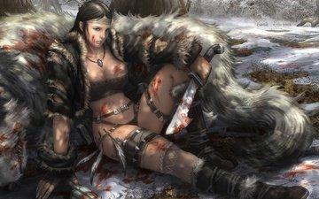лес, девушка, кровь, охотница, усталость, клинки, добыча