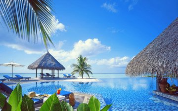 sea, beach, pool, resort, tropics