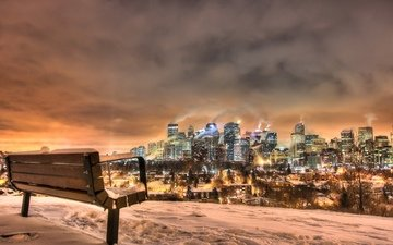 lights, bench, canada, calgary