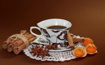 корица, кофе, чашка, цедра, бадьян, рецепт