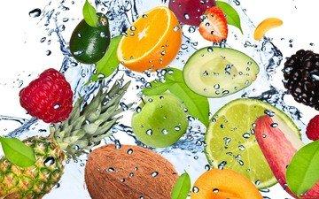 вода, мята, малина, капли, свежесть, фрукты, клубника, брызги, лимон, абрикос, яблоко, лайм, банан, кокос, ежевика, ананас, авокадо