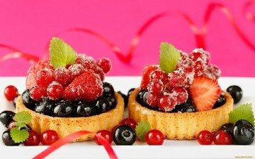 клубника, ягоды, черника, сладкое, десерт, пирожные, смородина, голубика