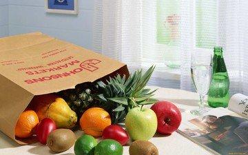 фрукты, яблоки, лимон, ягоды, киви, ананас