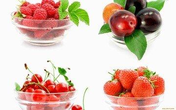 малина, клубника, ягоды, вишня, слива