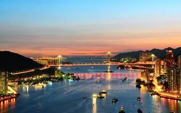 небо, огни, вечер, закат, море, мост, лодки, китай, гонконг, пролив