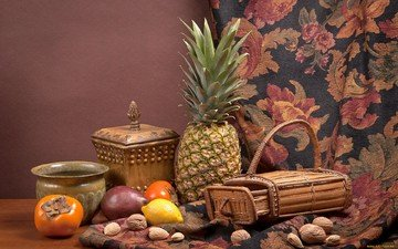 nuts, lemon, fabric, still life, pineapple, persimmon, mango
