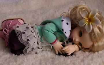 цветок, лежит, кукла, волосы, игрушки