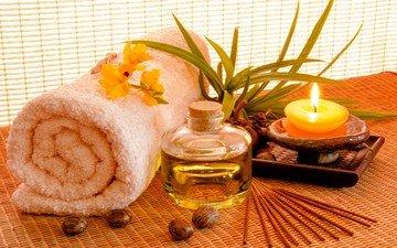 масло, свеча, полотенце, спа, орхидея