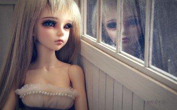 отражение, блондинка, кукла, игрушки, окно