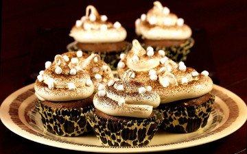 крем для торта, шоколад, сладкое, тарелка, десерт, зефир, пирожное, кексы, присыпка
