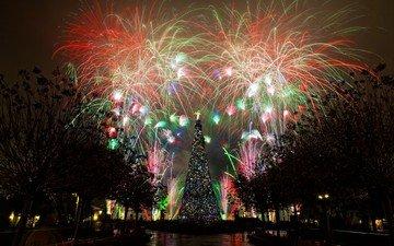 елка, зима, иллюминация, праздник, фейерверк, шоу, ницца, зрелище
