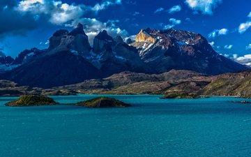 озеро, горы, природа, чили, патагония