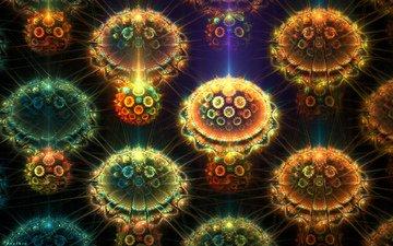 абстракция, фракталы, свечение, графика, круги