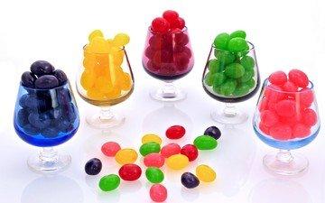 разноцветные, конфеты, сладкое, мармелад, драже