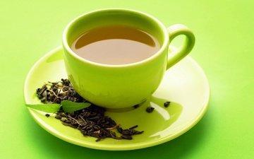 мята, листья, чашка, чай, заварка, зеленый чай