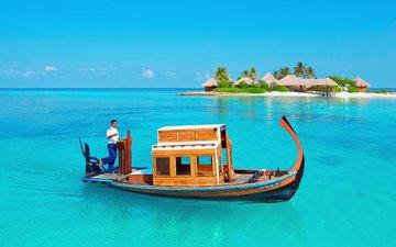 море, лодка, отдых, остров, тропики, мальдивы