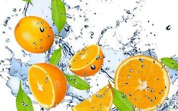 вода, капли, свежесть, фрукты, апельсины, брызги, оранжевые, цитрусы