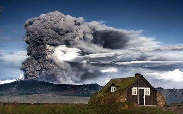 горы, природа, дым, домик, вулкан, исландия, пепел