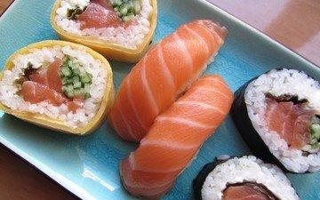рыба, рис, суши, роллы, морепродукты, лосось