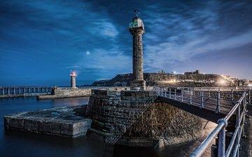 ночь, огни, море, звезды, англия, маяки, уитби, северный йоркшир