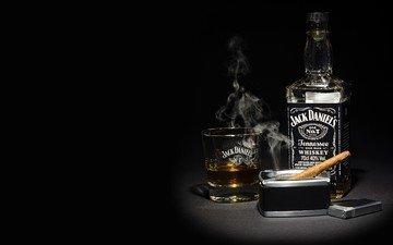 дым, бутылка, алкоголь, сигара, виски, джек дэниэлс, джек дениелс