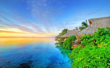 море, отдых, бунгало, тропики