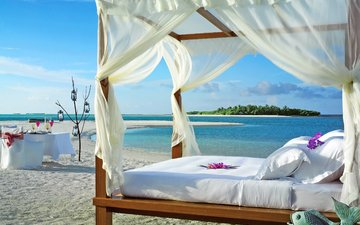sea, beach, stay, island, bed, tropics, the maldives