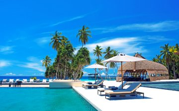 sea, pool, stay, resort, tropics, the maldives
