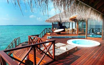 sea, stay, bungalow, tropics, the maldives