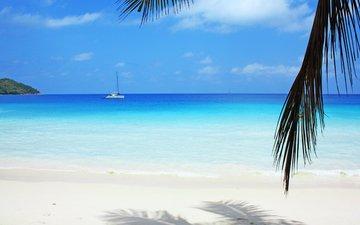 море, пляж, яхта, отдых, тропики