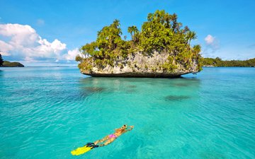девушка, море, отдых, остров, тропики, дайвинг