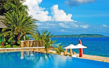 sea, beach, pool, stay, resort, tropics