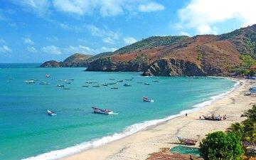 море, пляж, лодки, отдых, тропики